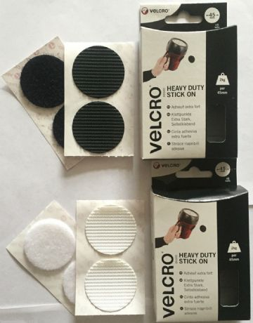 Velcro® Heavy Duty Self Adhesive Stick on large discs coins 45mm in Black/White
